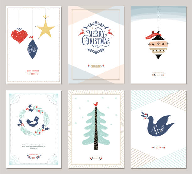 bildbanksillustrationer, clip art samt tecknat material och ikoner med jul hälsning cards_05 - christmas card