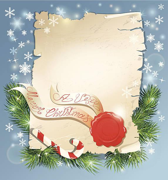 ilustrações de stock, clip art, desenhos animados e ícones de saudação de natal mágica rolo de papel com selo de cera do pai natal - lian empty
