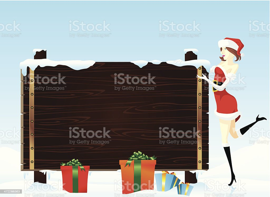 Christmas Greeting on a Blank Wooden Sign vector art illustration