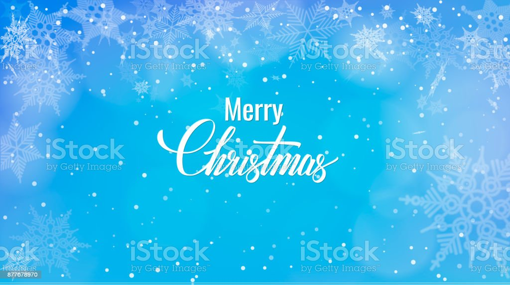 Christmas greeting on snow background merry christmas words on blue christmas greeting on snow background merry christmas words on blue winter background with snowfall m4hsunfo
