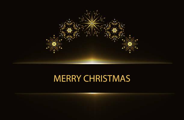 雪の結晶のクリスマス挨拶ポスター - 光 黒背景点のイラスト素材/クリップアート素材/マンガ素材/アイコン素材