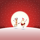 Christmas greeting - Santa Claus and Reindeer on red night moonlight winter landscape