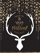 Vector illustration of a Christmas greeting string lights with deer head and antlers design with hand drawn text.