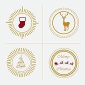christmas greeting trendy retro style insignia emblem elements for website decorations- golden sunburst badges