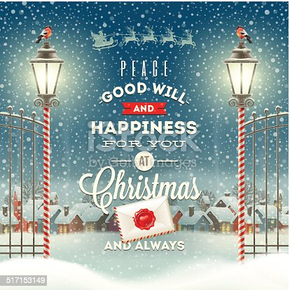 Christmas greeting type design with vintage street lantern against a evening rural winter landscape - holidays vector illustration.