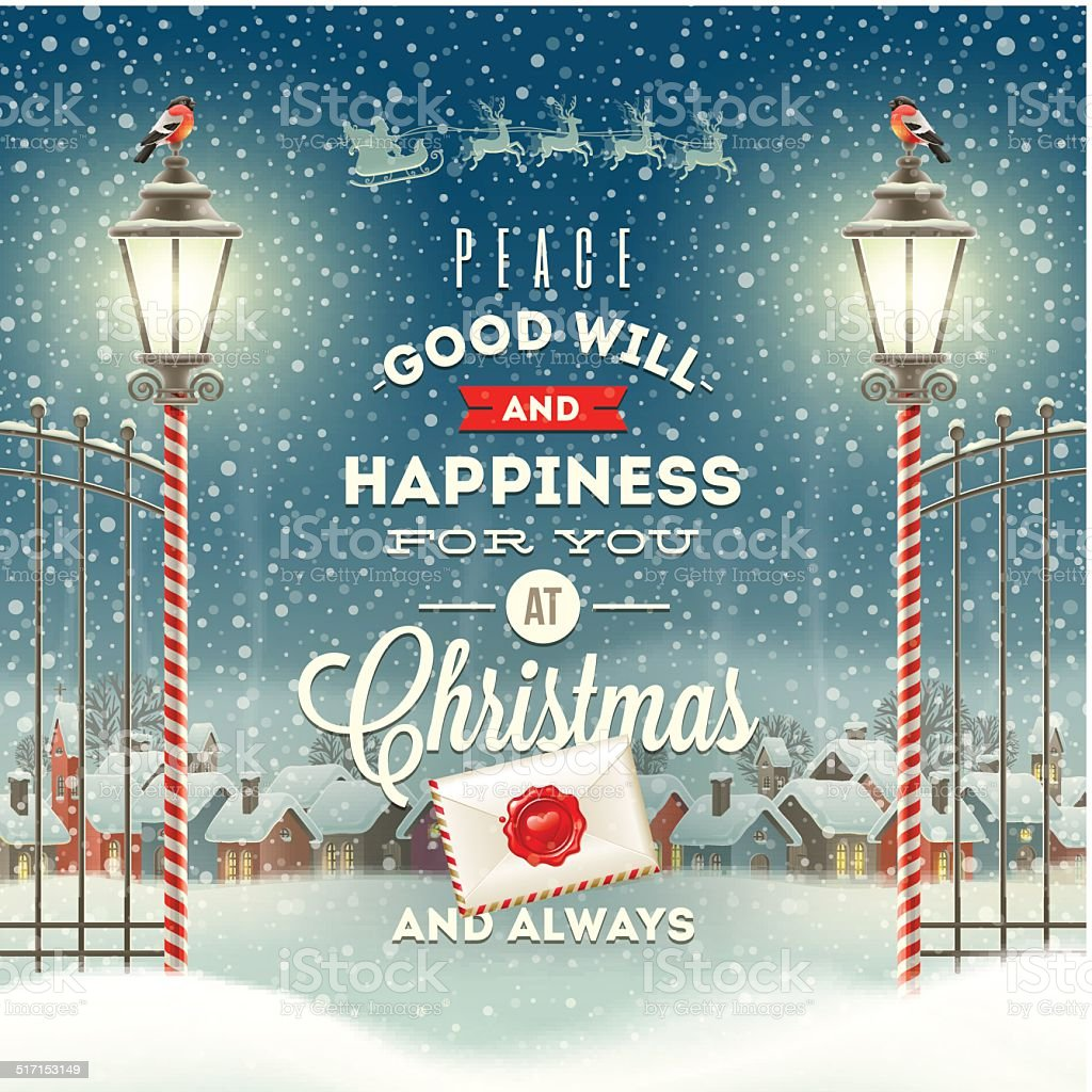 Christmas greeting type design with vintage street lantern vector art illustration