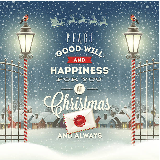 christmas greeting type design with vintage street lantern - köy stock illustrations