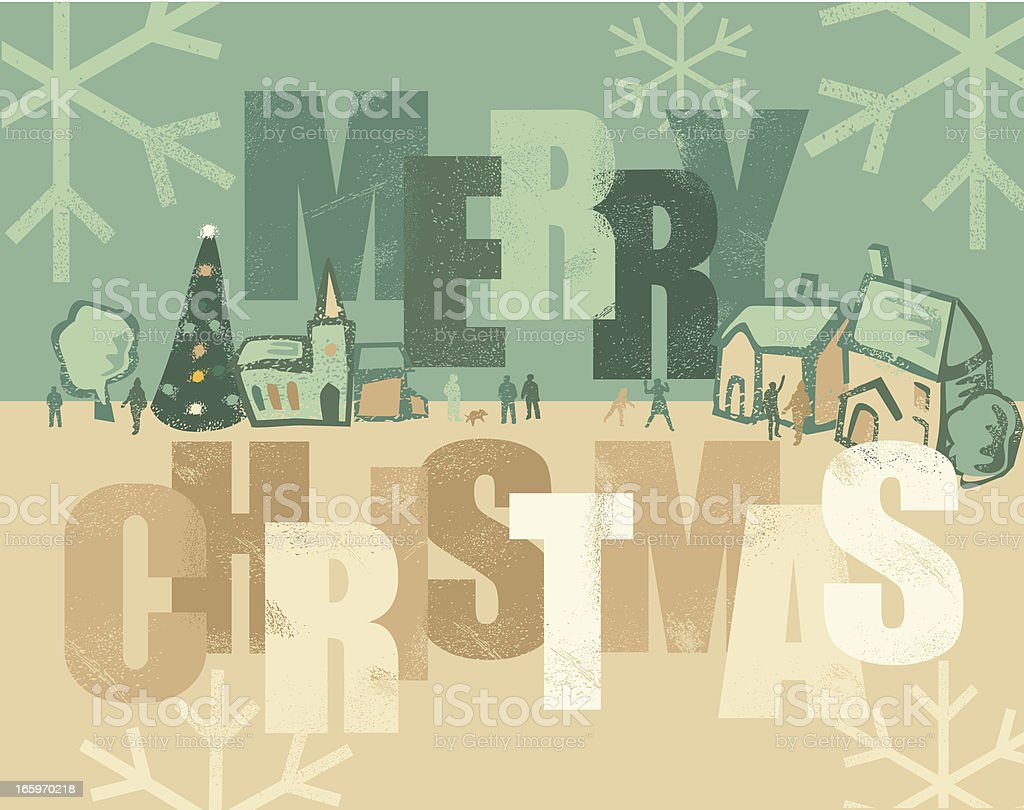 Christmas Greeting with village royalty-free stock vector art