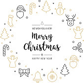 christmas greeting wreath icons elements circle golden isolated background