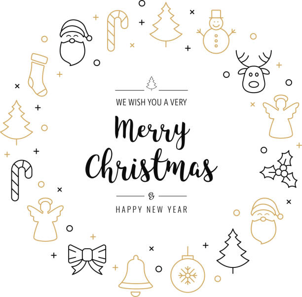 christmas greeting wreath icons elements circle golden isolated background christmas greeting wreath icons elements circle golden isolated background christmas icons stock illustrations