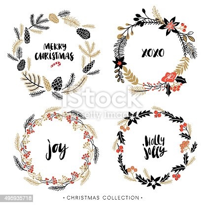 Christmas greeting wreaths with calligraphy stock vector for Alphabet christmas wreath