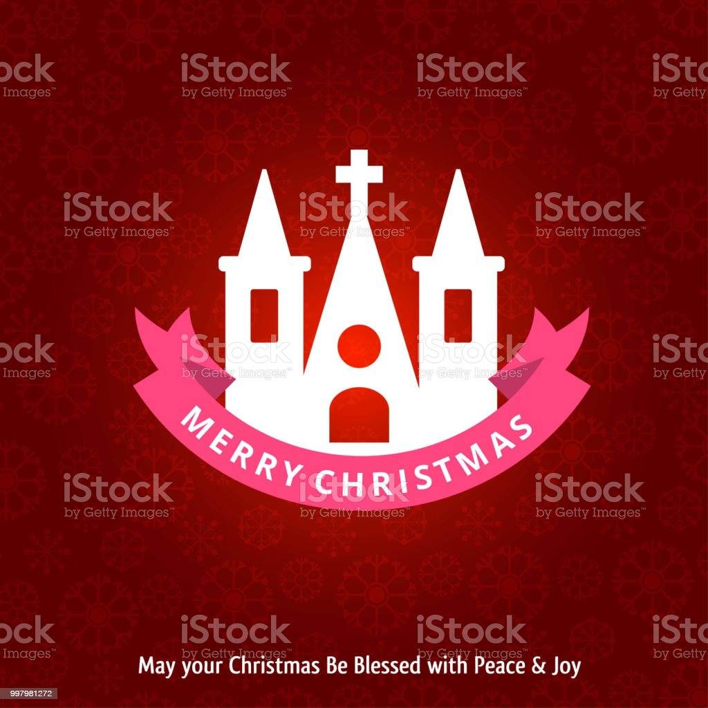 christmas greetings card with holy church and pattern background
