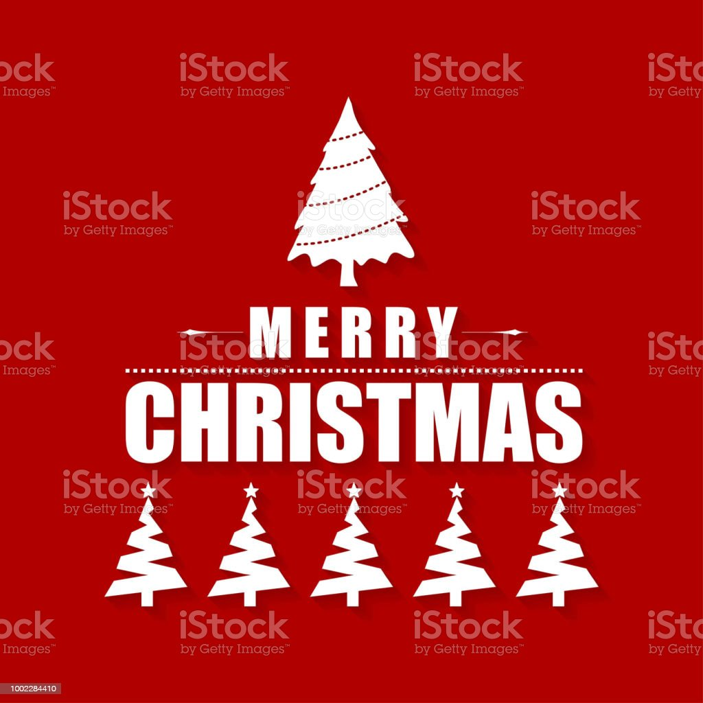 Christmas Greetings Card With Red Background And Christmas Tree