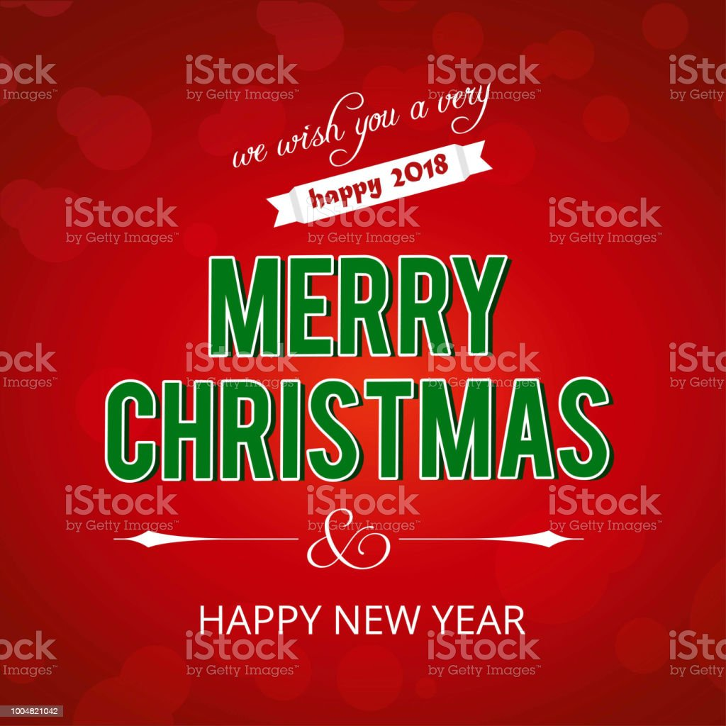 Christmas greetings card with red background grren typography.