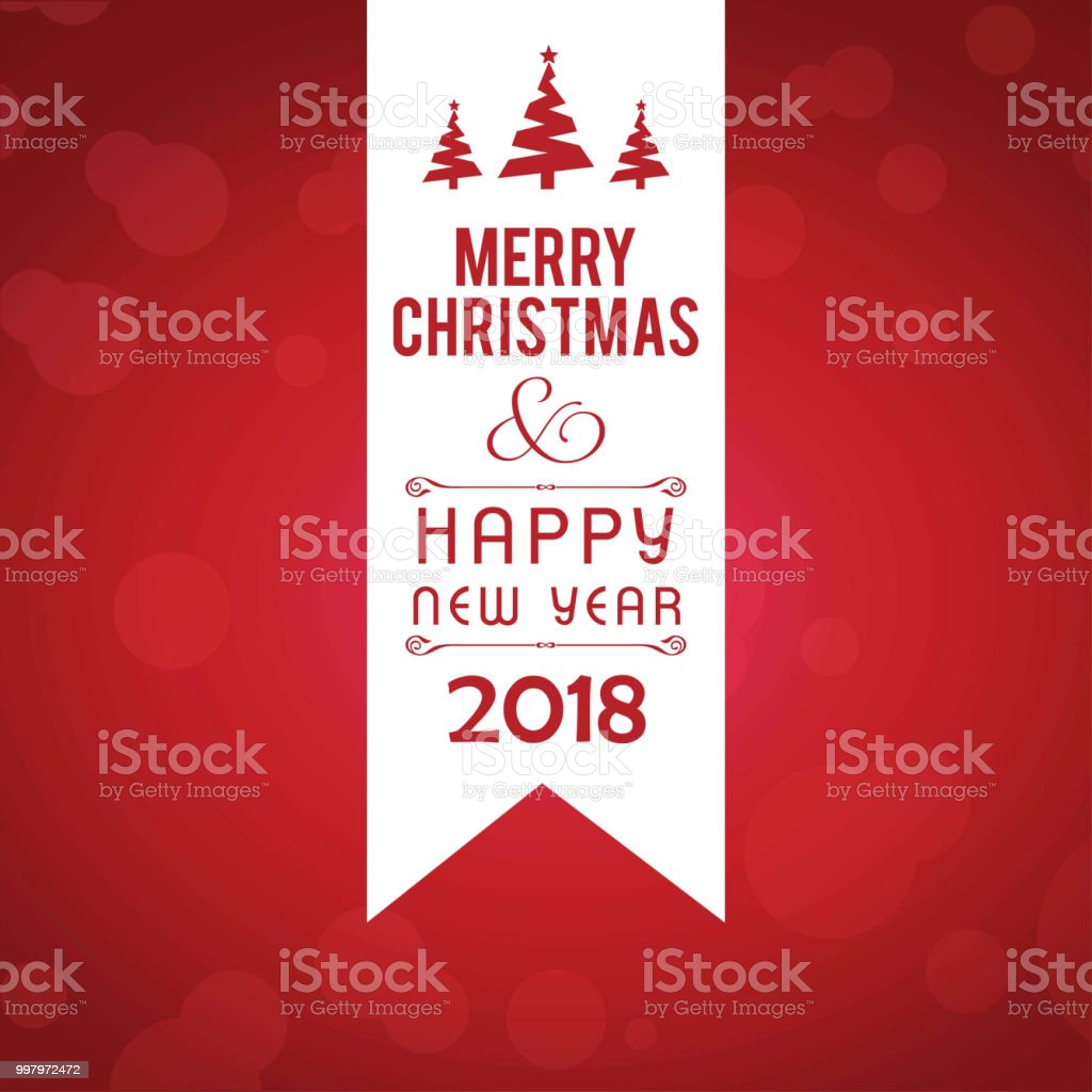 Christmas Greetings Card With Red Background With Christmas Tree