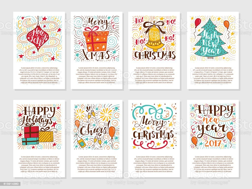 Christmas greetings cards vector art illustration