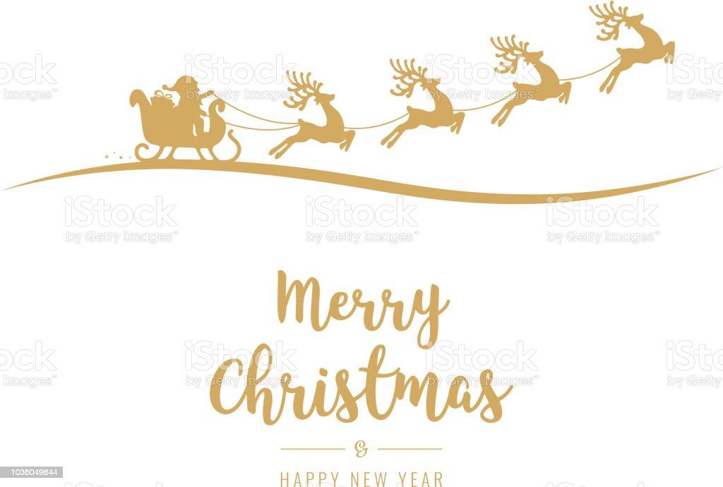 孤立した背景を飛んでクリスマス挨拶ゴールデン サンタそり お祝いの