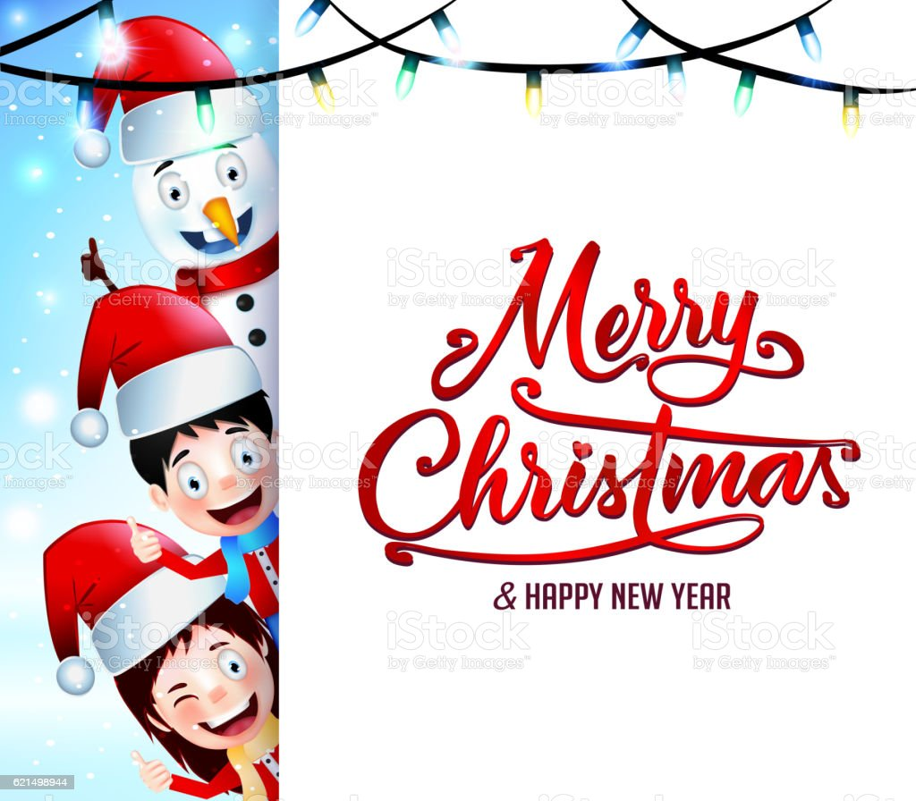 Christmas Greetings On Isolated Background With Happy Kids Stock