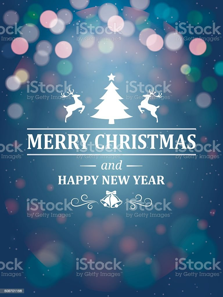 Christmas Greetings Typography On Blue Background Stock Vector Art