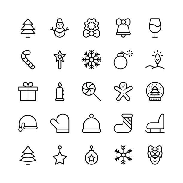 Christmas, Halloween, Party and Celebration Line Vector Icons 1 Let's celebrate this holiday season with true spirit. You'll love using these Christmas, Halloween, Party and Celebrations Vector Icons Pack for designing greeting cards and website banners. christmas teddy bear stock illustrations