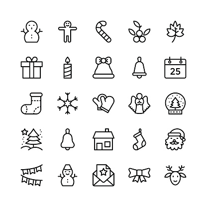 Christmas, Halloween, Party and Celebration Line Vector Icons 2