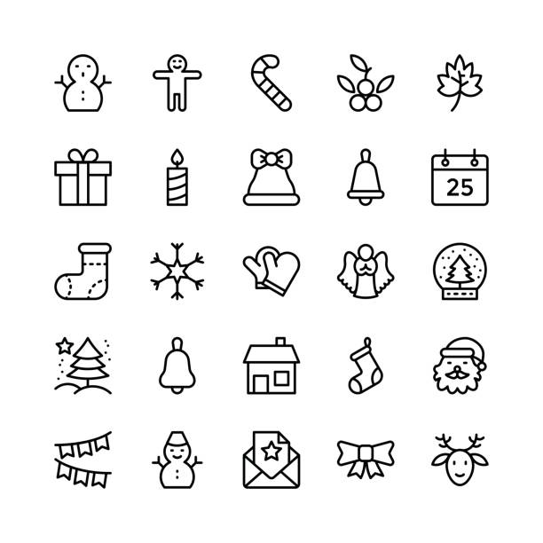 Christmas, Halloween, Party and Celebration Line Vector Icons 2 Let's celebrate this holiday season with true spirit. You'll love using these Christmas, Halloween, Party and Celebrations Vector Icons Pack for designing greeting cards and website banners. christmas teddy bear stock illustrations