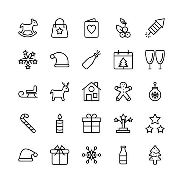 Christmas, Halloween, Party and Celebration Line Vector Icons 3 Let's celebrate this holiday season with true spirit. You'll love using these Christmas, Halloween, Party and Celebrations Vector Icons Pack for designing greeting cards and website banners. christmas teddy bear stock illustrations