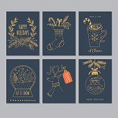 Christmas hand drawing greeting card set in blue and gold. Isolated vector illustration