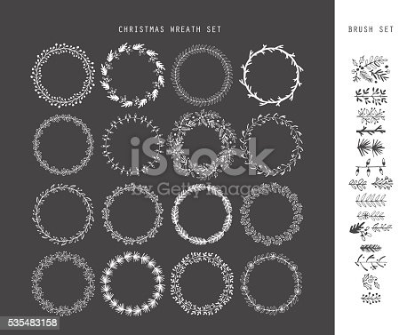 Christmas hand drawing sketch wreath set for design. Vector illustration