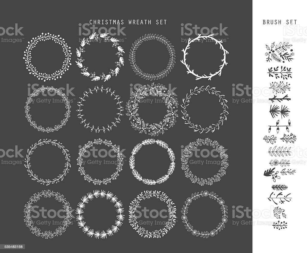 Christmas hand drawing sketch wreath set for design vector art illustration