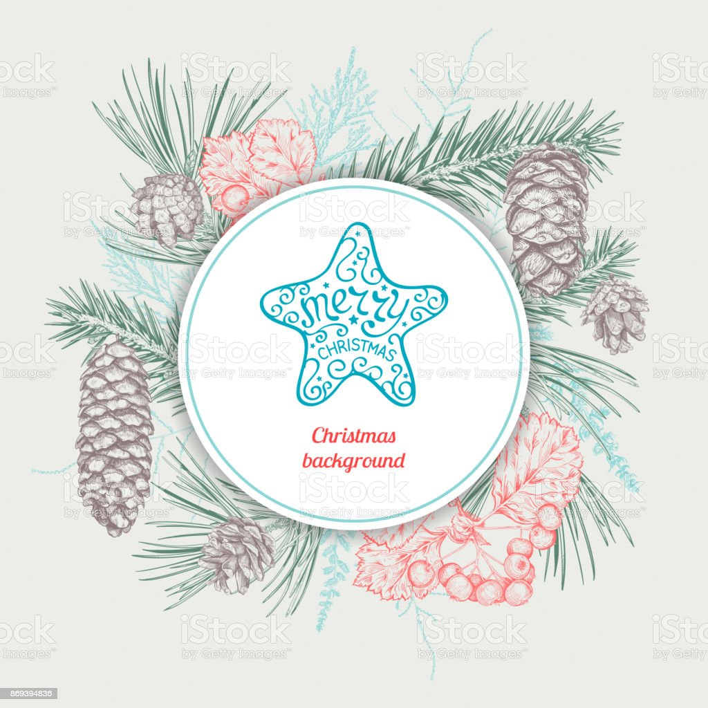 Christmas hand drawn background - illustrazione arte vettoriale