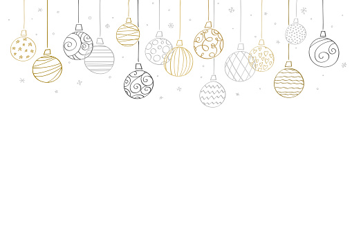 Elegant Christmas baubles pattern. Gold and silver coloured cartoon style
