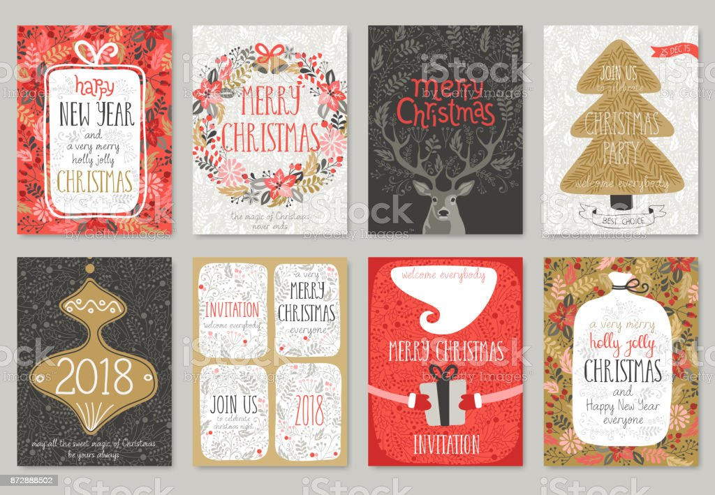 Christmas hand drawn card set. christmas hand drawn card set - immagini vettoriali stock e altre immagini di 2018 royalty-free