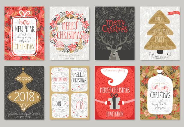 bildbanksillustrationer, clip art samt tecknat material och ikoner med christmas handritad kort set. - christmas card