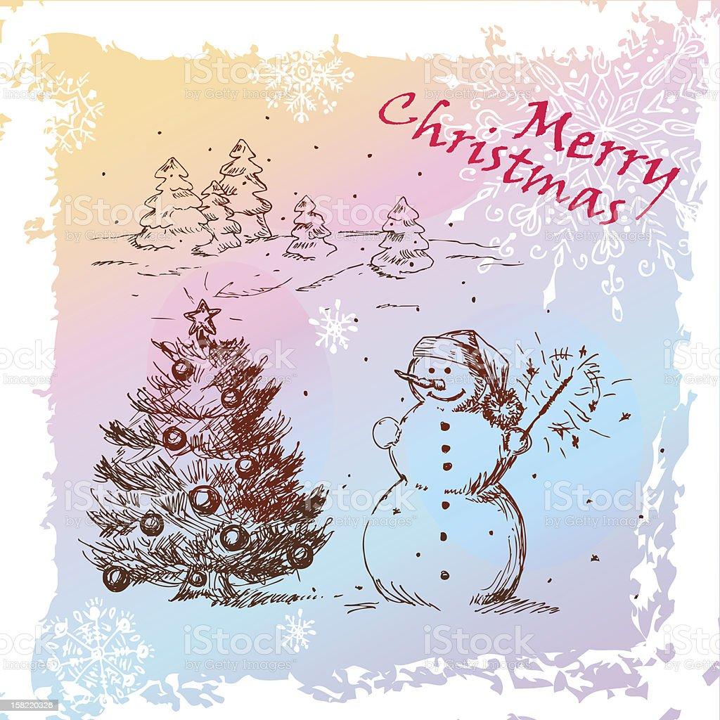 christmas hand drawn card royalty-free stock vector art