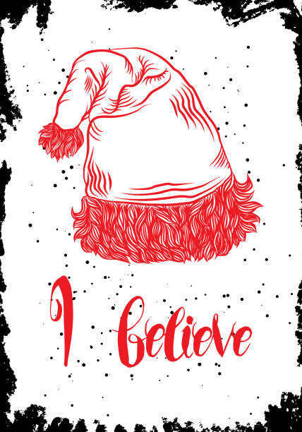christmas hand drawn card with christmas santa clause hat illustration vector vector art illustration - Define Christmas