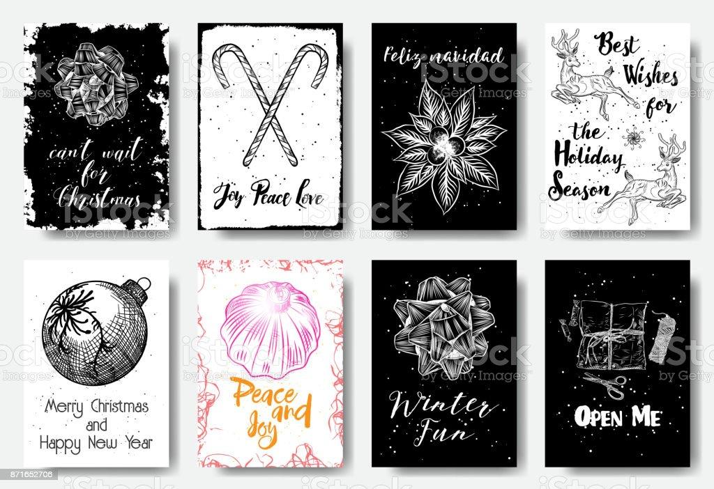 Handgezeichnete Weihnachtskarten Mit Weihnachtsschleife Süßigkeit ...