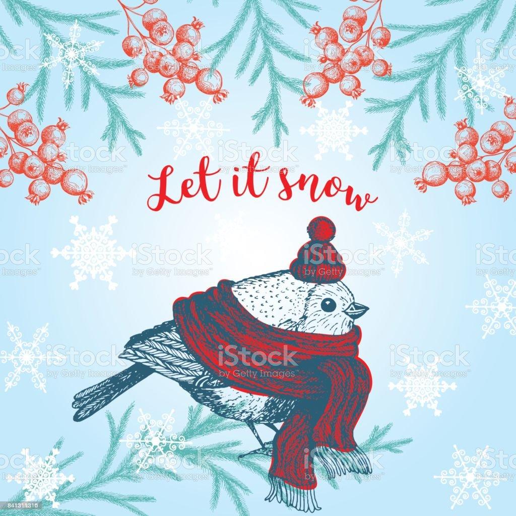 Christmas hand drawn cute bird for xmas design vintage xmas christmas hand drawn cute bird for xmas design vintage xmas invitation card designrd stopboris Image collections