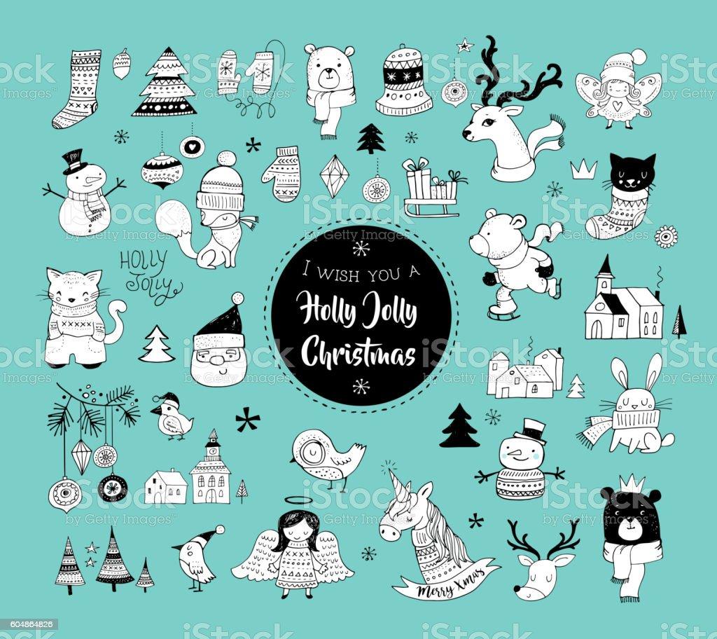 Christmas hand drawn cute doodles, stickers, illustrations and elements – Vektorgrafik