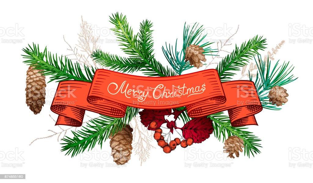 Christmas hand drawn decorations - illustrazione arte vettoriale
