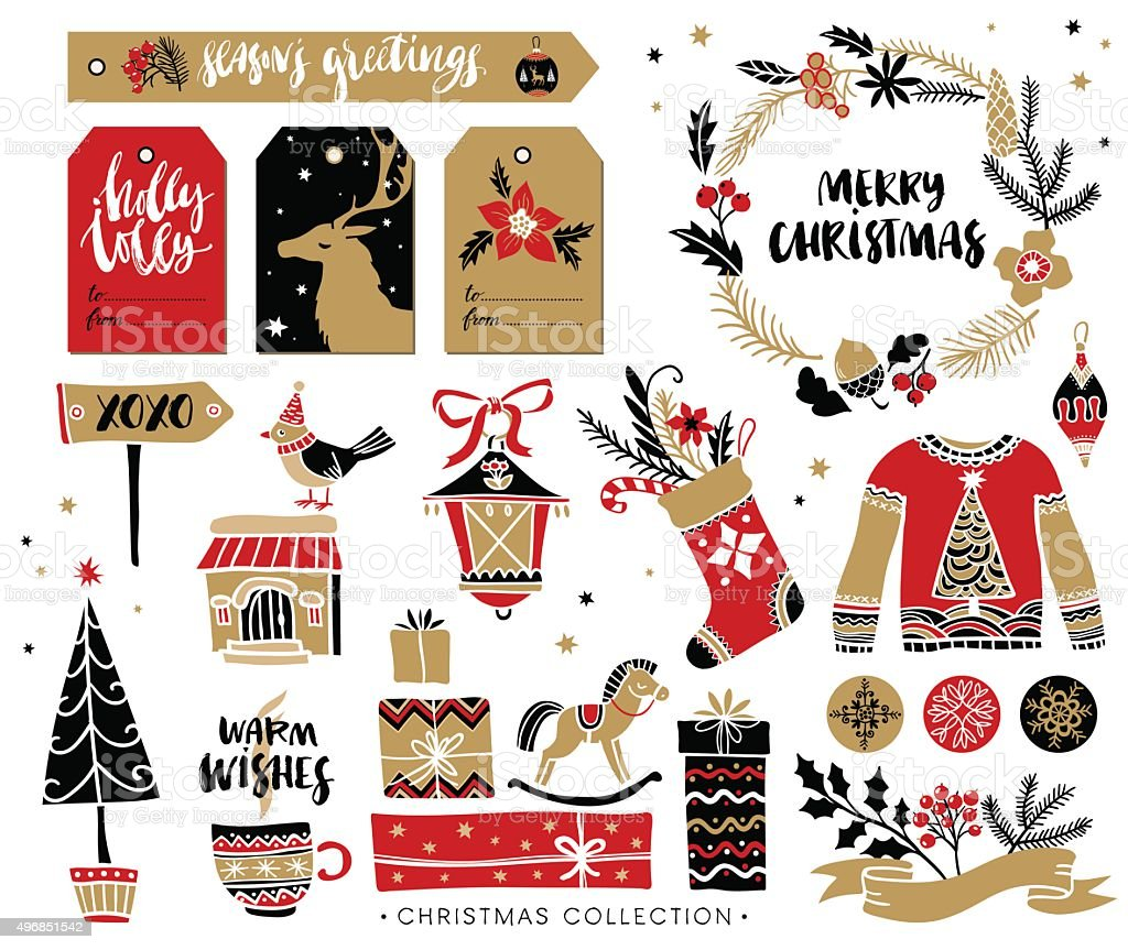 Christmas hand drawn design elements with calligraphy. vector art illustration