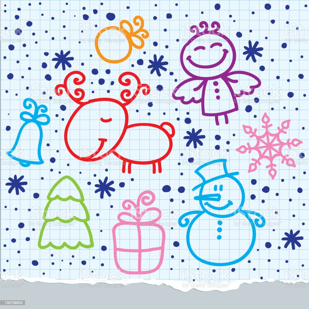 christmas hand drawn design royalty-free stock vector art