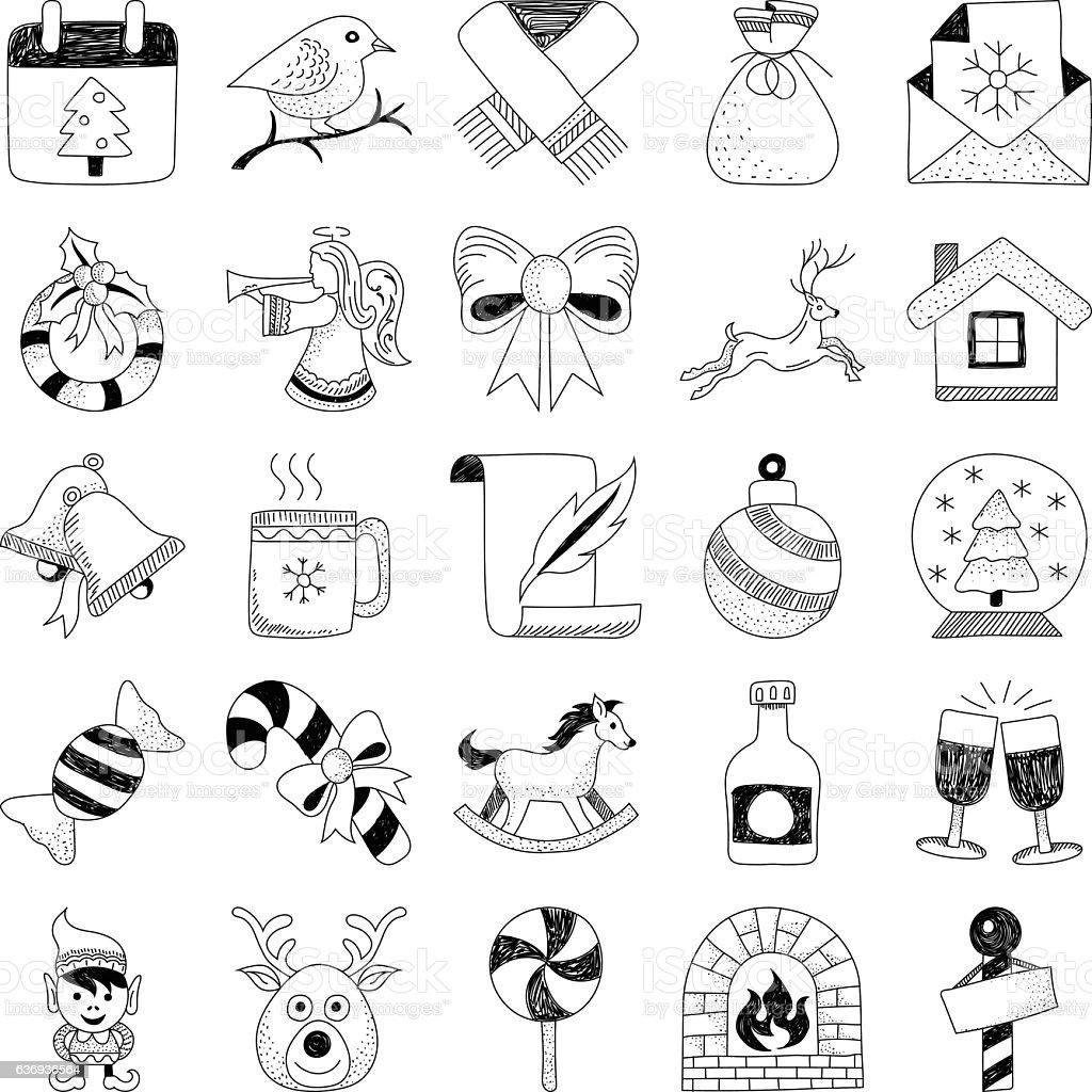 Christmas Hand Drawn Doodles 2 vector art illustration