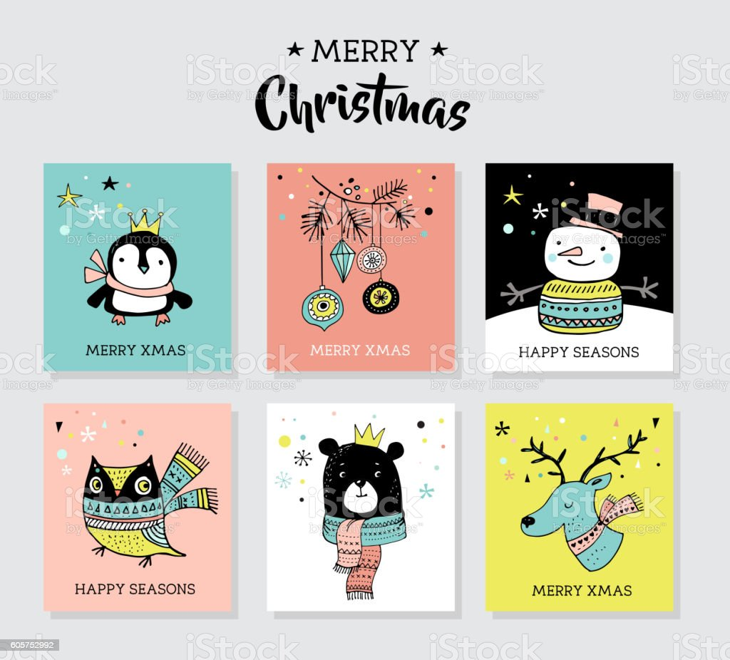 Christmas hand drawn doodles and greeting cards with cute animals ベクターアートイラスト