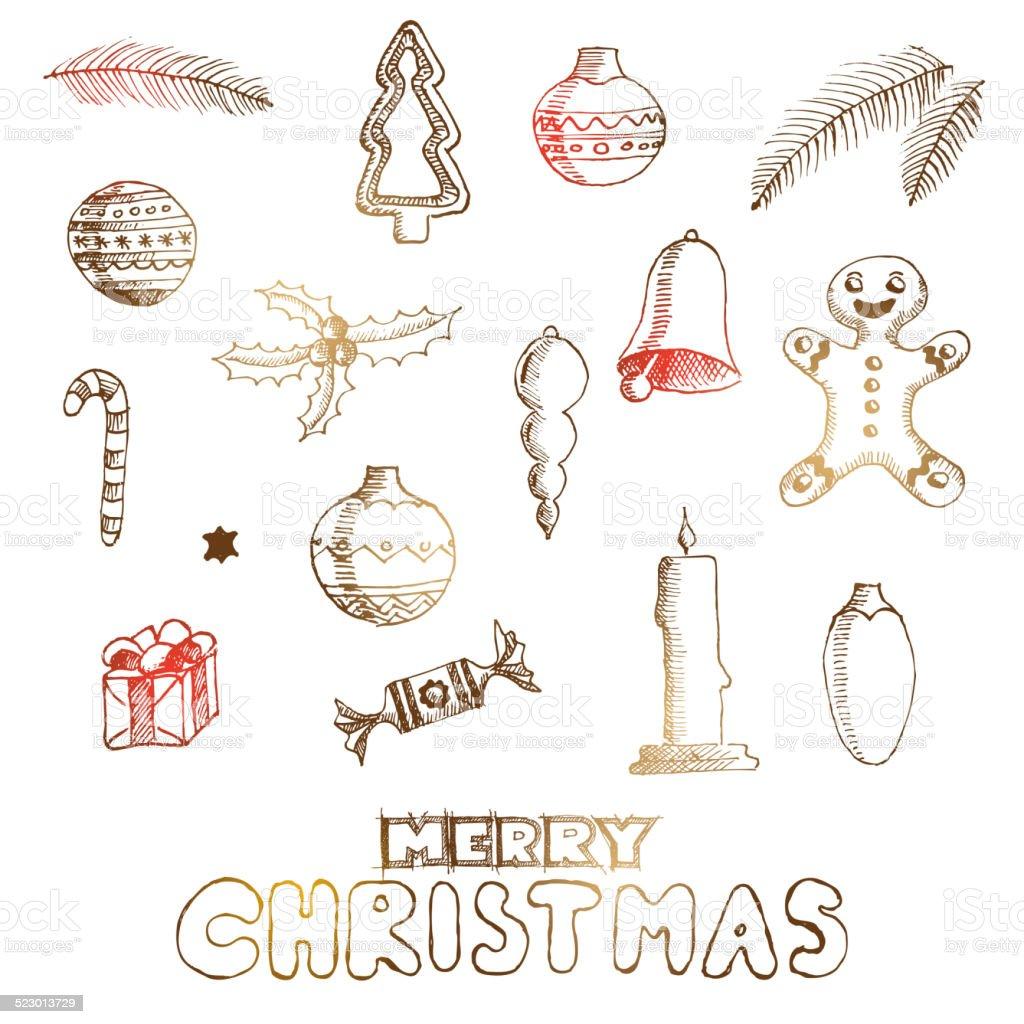 Weihnachten Von Hand Gezeichnete Skizzen Für Weihnachten Design Mit ...