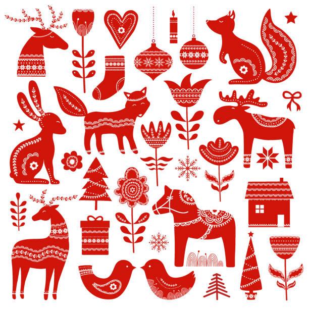 bildbanksillustrationer, clip art samt tecknat material och ikoner med christmas hand dras element i skandinavisk stil - älg sverige