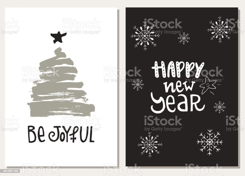 Christmas Hand Drawn Lettering Postcards Christmas Lettering Phrases ...