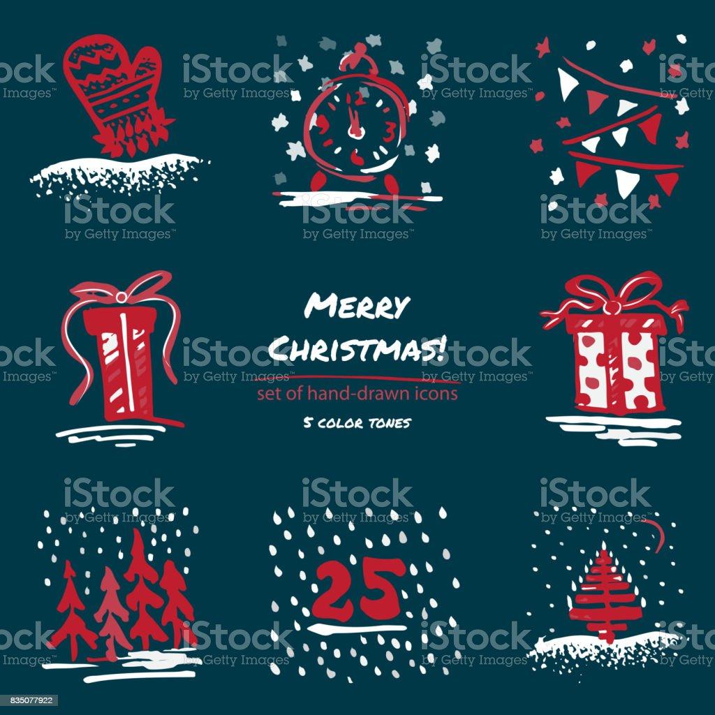 Ilustracion De Navidad Dibujados A Mano Dibujo Iconos Azul Oscuro De