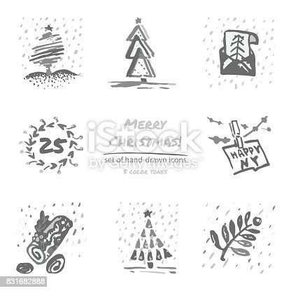 Christmas hand drawn sketch icons on white background Few color tones Vector illustration