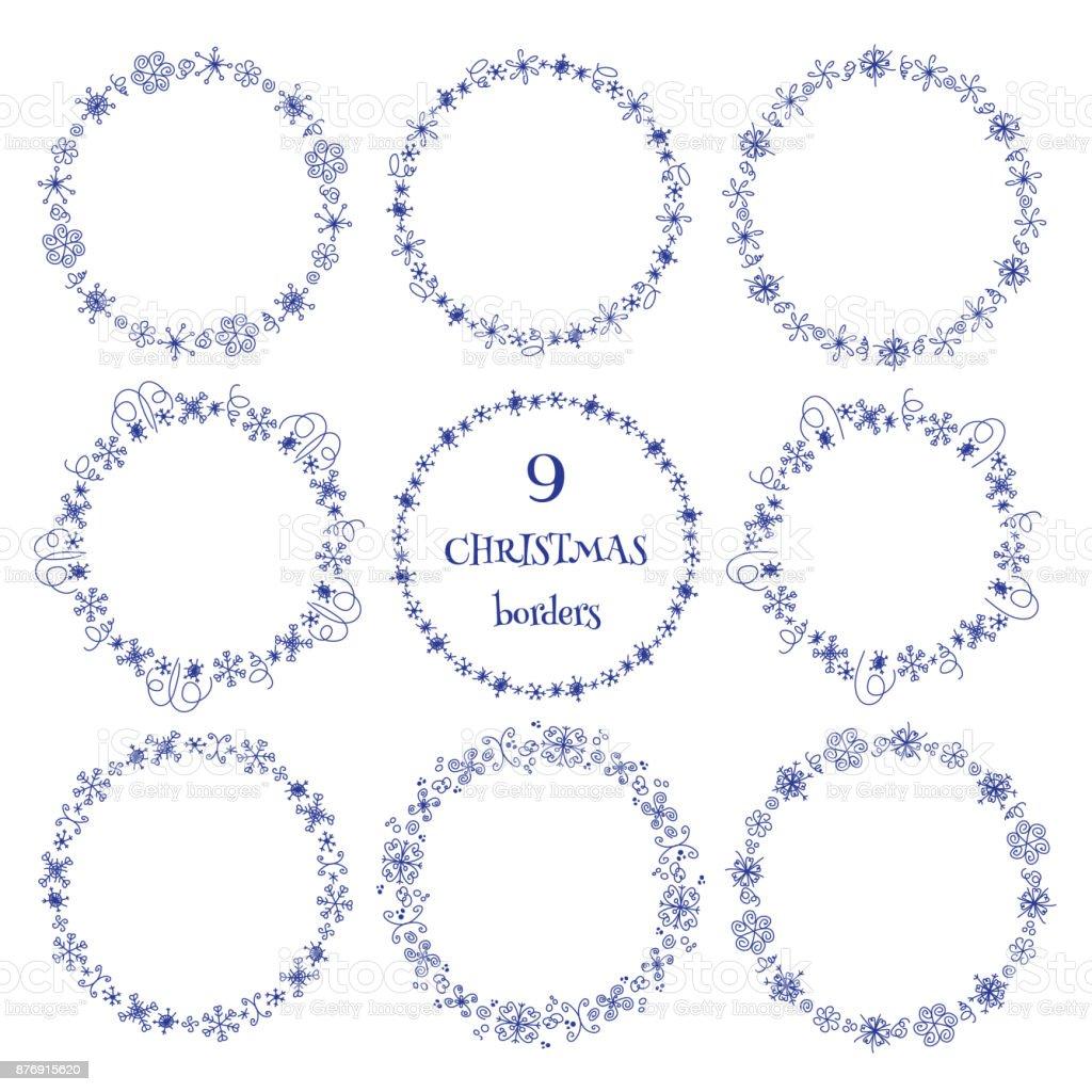 Christmas Hand Drawn Snow Doodle Round Borders Frames Set Line ...